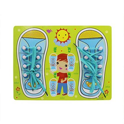 Kids Wooden Lacing Shoes Puzzle Board Fine Motor Skills Toys