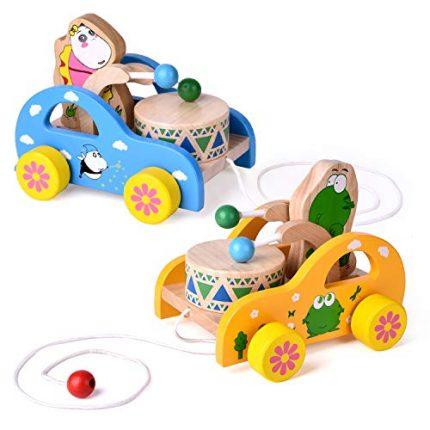 2 Pack Toddler Toys, Wooden Pull Toys for Kids, Animal Pull-Along