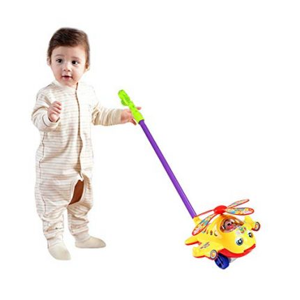 O-Toys Baby Push and Pull Toy Funny Aircraft Push Walker for Kids