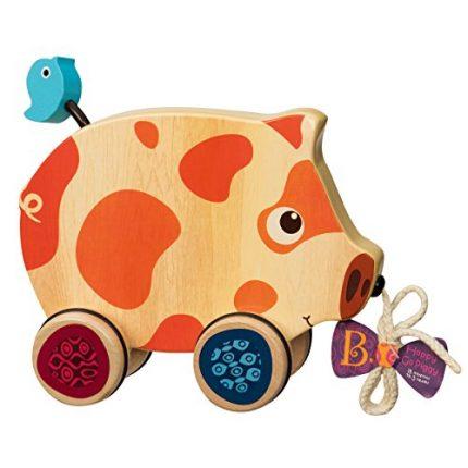B. toys – Happy Go Piggy – Wooden Pull Toy – BPA Free Walk-A-Long
