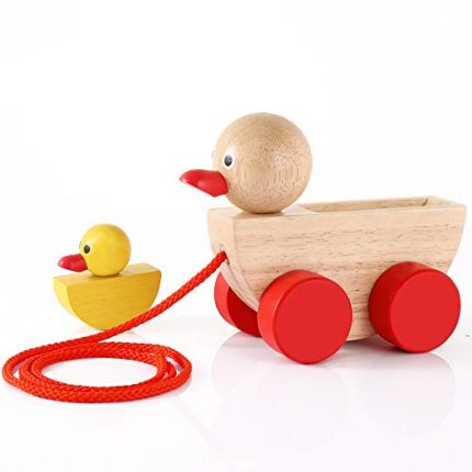 Babe Rock Baby Toys for 1 2 3 Year Old Gifts Wooden Ducks Pull