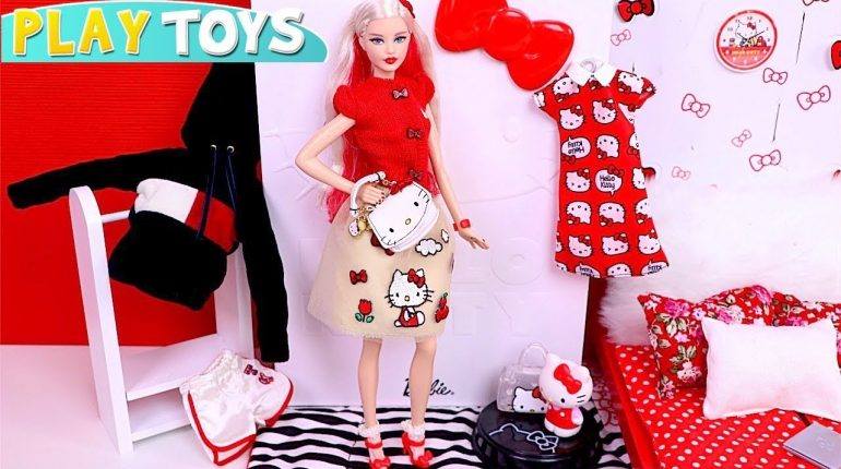 Barbie Doll Dress up Hello Kitty Outfit Pretend Play!