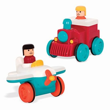 Battat – Pump and Go Plane + Pump and Go Train Combo – 2 Push and
