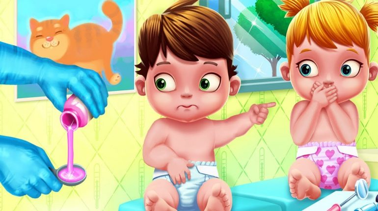Fun Care Kids Game - Baby Twins Adorable Two - Play Babysitter Dr...