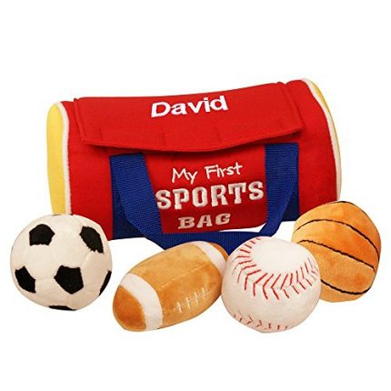"""GiftsForYouNow Personalized My First Sports Bag Baby Toy, 7"""" x 4"""""""
