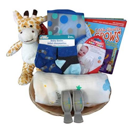 Giraffe Baby Gift Basket for Baby Boy or Girl with Cotton