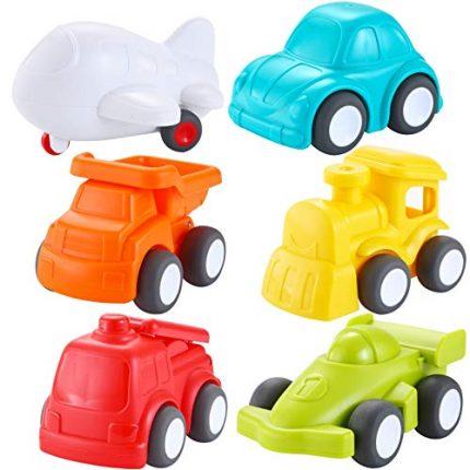 JOYIN 6 Pack Toddler Car Toys Push Go Free Wheel City Traffic