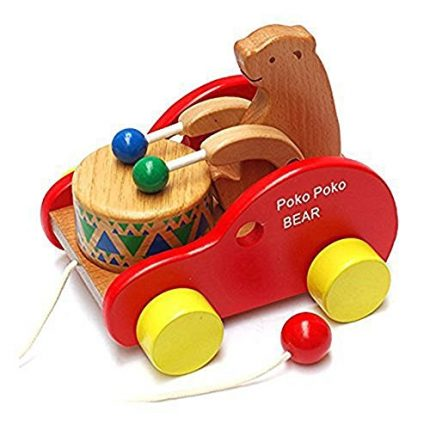 JULED Wooden Pull Along Toy, Kids Creative Educational Toy Bear