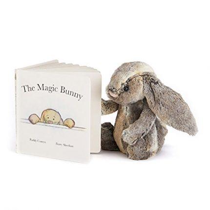 Jellycat Magic Bunny Board Book and Woodland Bunny, Medium - 12