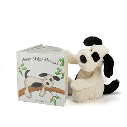 Jellycat Puppy Makes Mischief Board Book and Bashful Black and