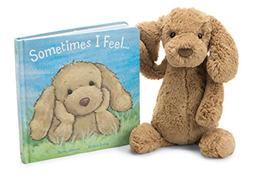 Jellycat Sometimes I Feel Board Book and Bashful Toffee Puppy,