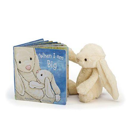 Jellycat When I Am Big Board Book and Bashful Cream Bunny, Medium