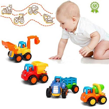 LUKAT Friction Powered Cars Construction Vehicles Push and Go