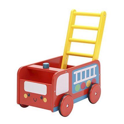 Labebe Baby Walker with Wheel, Red Fire Truck Walker, 2-in-1