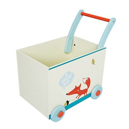 Labebe Baby Walker with Wheel, White Fox Printed Wooden Push Toy,