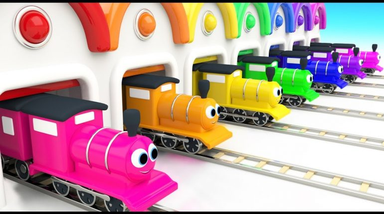 Learn Colors for Children with Baby Toy Train Garage 3D Kids Todd...