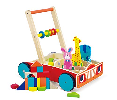 May & Z Wooden Walker, Baby Learning Walker Wagon and Push Cart