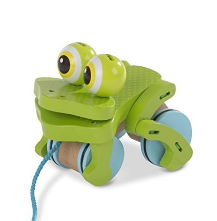 Melissa & Doug 3205 First Play Frolicking Frog Wooden Pull Toy,