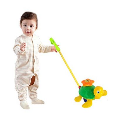 O-Toys Baby Push and Pull Toy Funny Turtle Push Walker for Kids