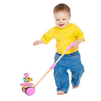 O-Toys Baby Walker Wooden Push and Pull Walking Toy Push Along