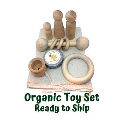 Organic Wood Set of Toys - with Bonus Ounce of Organic Sealant