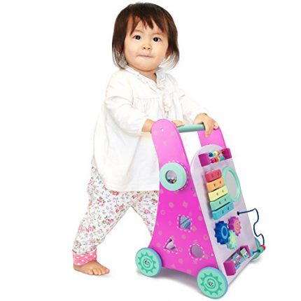 Pink Push-n-Play Wooden Learning Walker Toy, 10 Fun Activities
