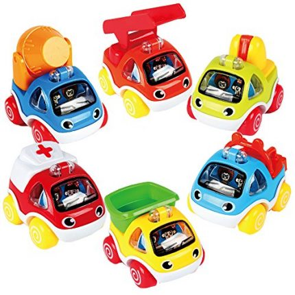 """Pull Back Vehicles 6 Pack 3"""" Plastic Friction Cars Playest"""