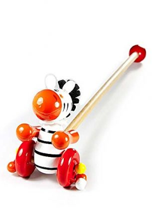 Push and Pull Along Wooden Toy Safari Animal Zebra for Toddlers
