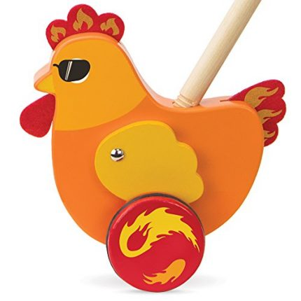 Radical Racers Spicy Chicken Wooden Push-Along Walking Toy by