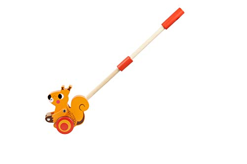 TOYSTERS Push Along Toddler Walking Squirrel | Wood Stand Up Push