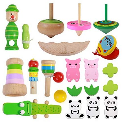 Toddler Wooden Toys Gifts Set, 9 Types Include Castanets