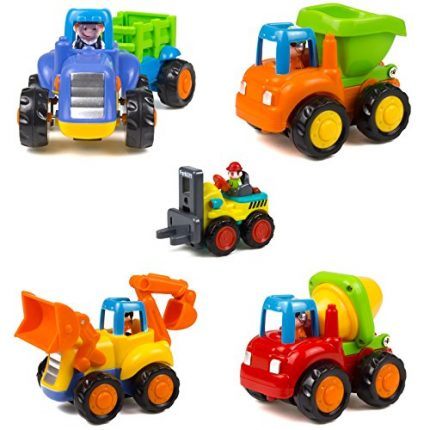 Woby Push and Go Friction Powered Car Toys Set Tractor Bulldozer