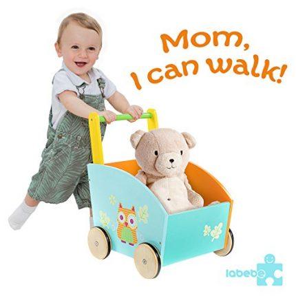 labebe Baby Walker with Wheel, Orange Owl Printed Wooden Push