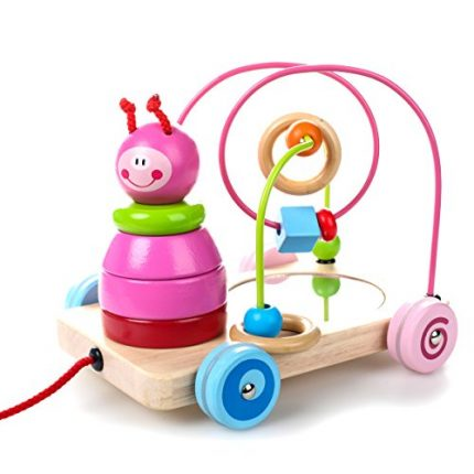 rolimate 8x7x7 inch Pink Color 4 in 1 Wooden Educational Toy,